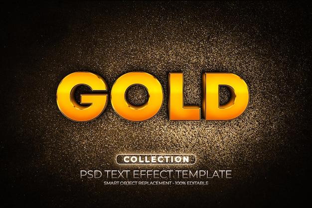 Makiety logo złoty brokat i niestandardowy efekt tekstowy