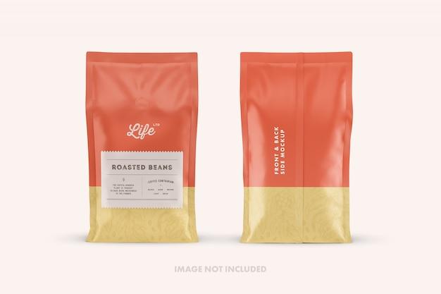 Makiety opakowań stojących toreb na kawę
