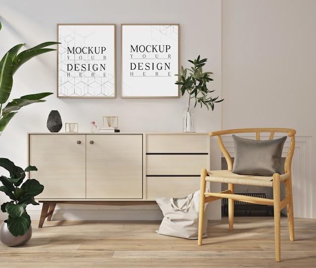 Makiety plakatów w nowoczesnym białym salonie z fotelem i kredensem