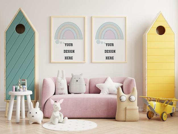 Makiety plakatów we wnętrzu pokoju dziecięcego, plakaty na pustej białej ścianie, renderowanie 3d