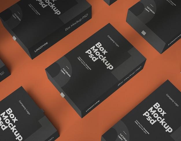 Makiety pudełek ze zmiennym kolorem i edytowalnymi warstwami