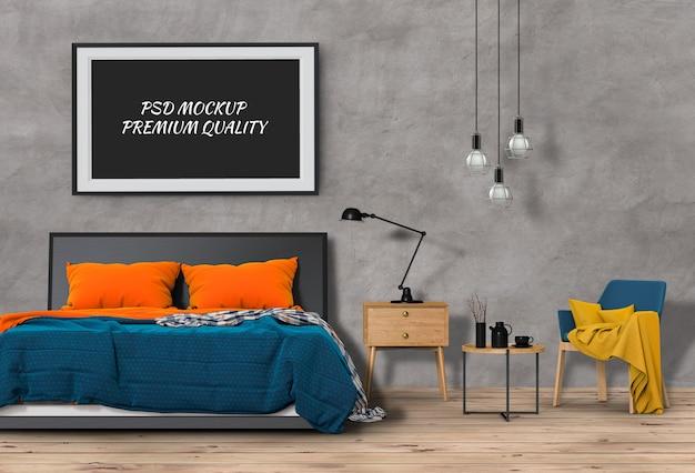 Makiety pusty plakat wnętrze pokoju łóżko. renderowania 3d