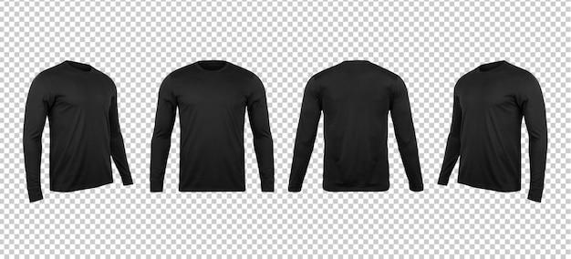 Makiety pustych czarnych t-shirtów z długim rękawem