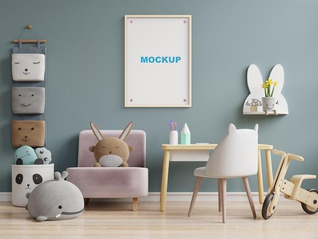 Makiety rama plakatowa w renderowaniu 3d pokoju dziecięcego