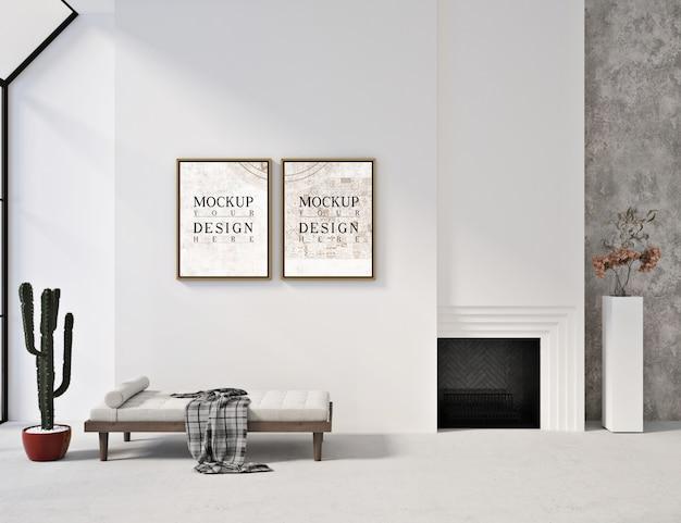 Makiety ramek w nowoczesnym białym wnętrzu z kanapą