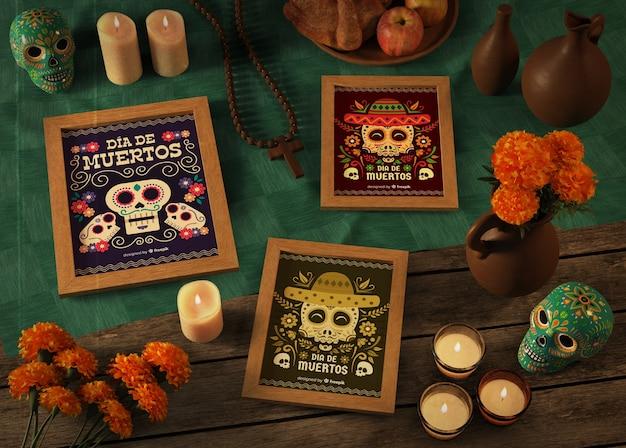 Makiety różnorodności dia de muertos z kwiatami i świecami