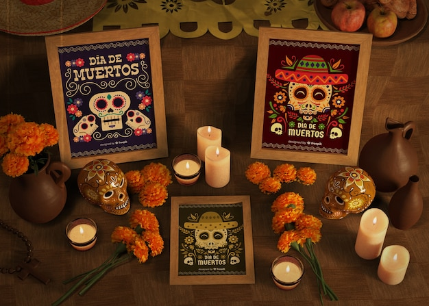 Makiety różnorodności dia de muertos ze świecami