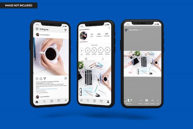 Makiety smartfonów do wyświetlania szablonu postów na instagramie
