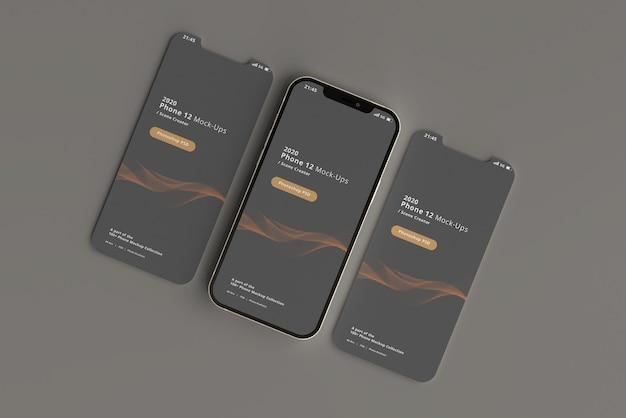 Makiety smartfonów z odłączonym ekranem