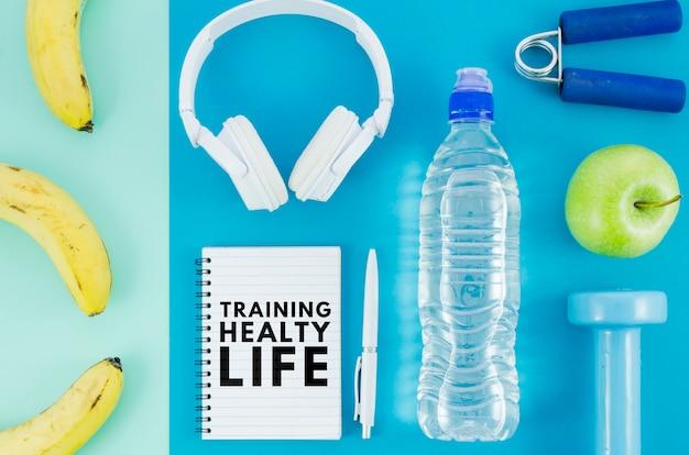 Makiety sprzętu treningowego i żywienia