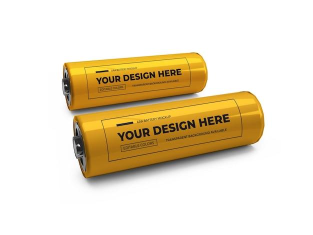 Mała bateria aa 3d makieta na białym tle