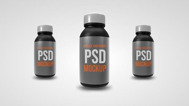 Mała Butelka Makieta Renderowania 3d Premium Psd