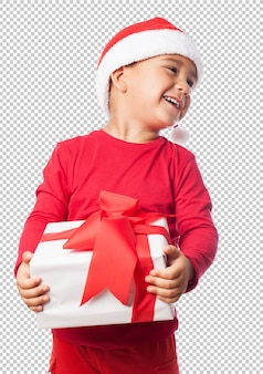 Małe dziecko chłopiec świętuje boże narodzenia