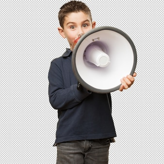 Małe dziecko trzyma megafon