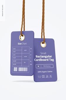 Małe prostokątne kartonowe znaczniki makieta, wiszące