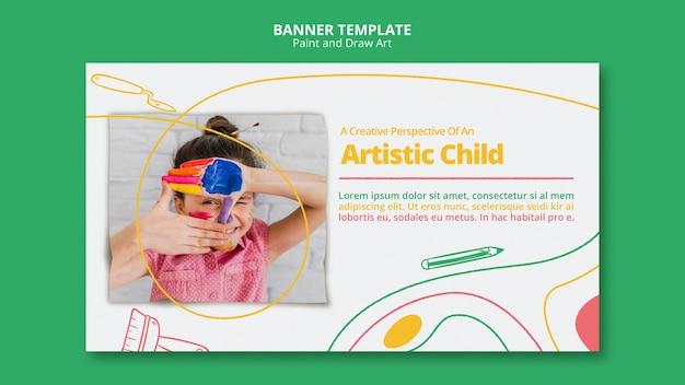 Malowanie i rysowanie sztuki szablonu banner projektu