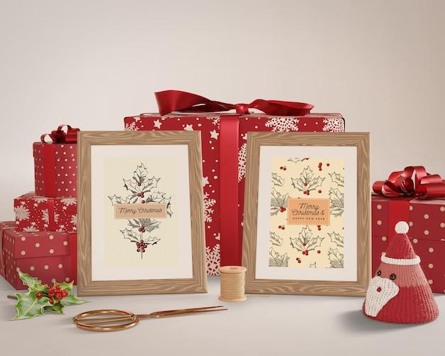 Malowanie obejmujące zapakowane prezenty