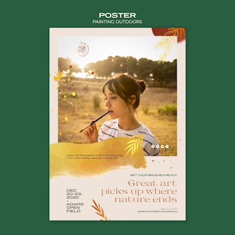 Malowanie poza plakatem szablonu reklamy