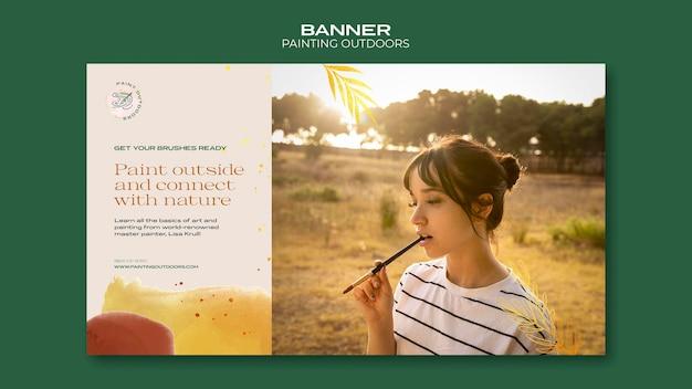 Malowanie poza szablonem banera reklamowego