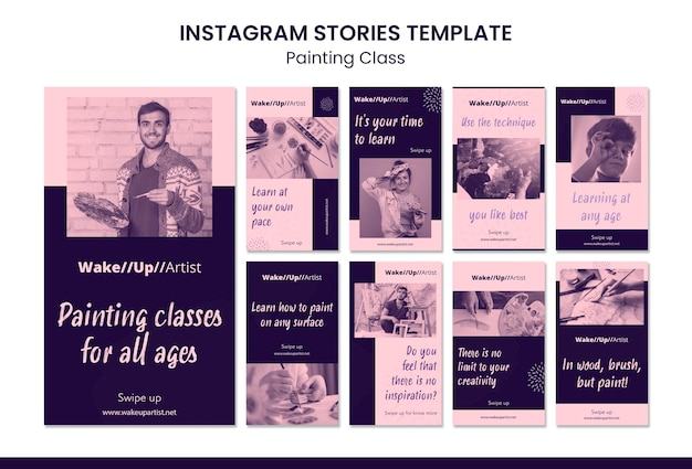 Malowanie szablonu historii na instagramie klasy
