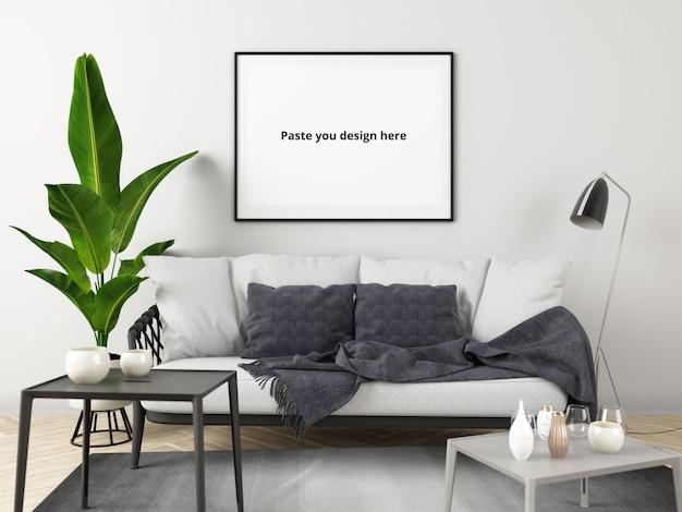 Mały mess living room z makietą plakatu