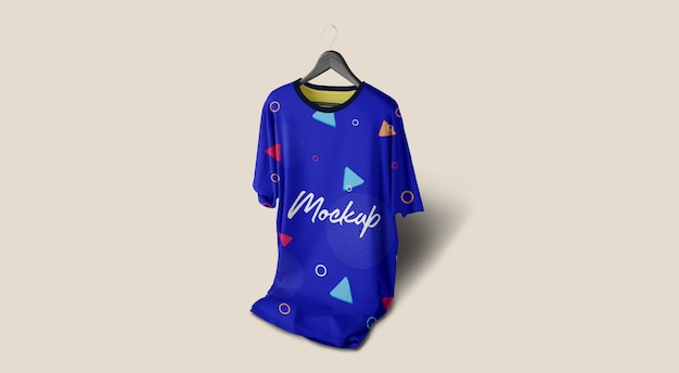 Man tshirt mockup blue hanging