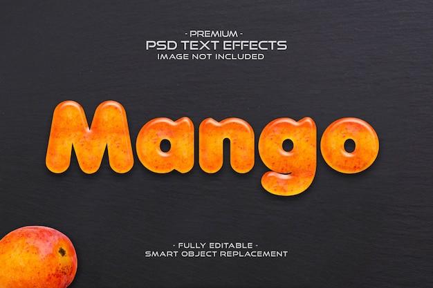 Mango 3d styl tekstu efekt owoców psd