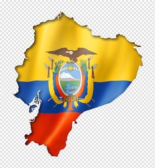 Mapa flaga ekwadoru, trójwymiarowy render, na białym tle