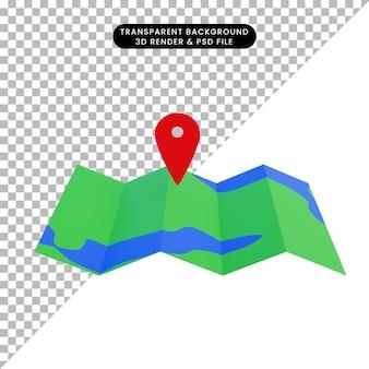 Mapa ilustracji 3d z ikoną lokalizacji
