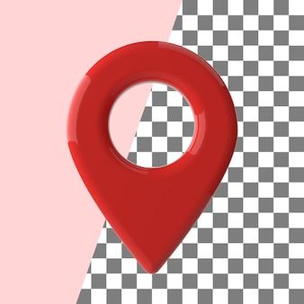 Mapa renderowania 3d pin point czerwona błyszcząca tekstura