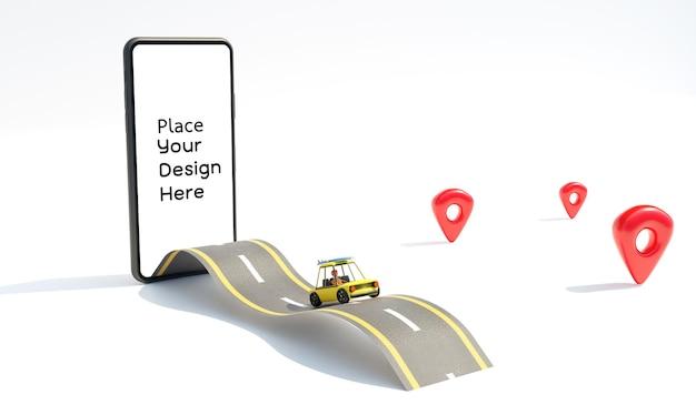 Mapa renderowania projektu lokalizacji na białym tle