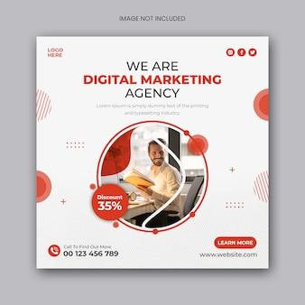 Marketing cyfrowy agencja biznesowa w mediach społecznościowych post lub szablon banera internetowego