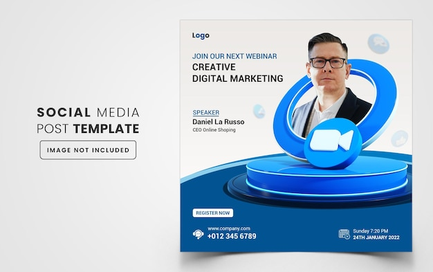 Marketing cyfrowy biznesowy baner internetowy na webinarium lub korporacyjny post w mediach społecznościowych