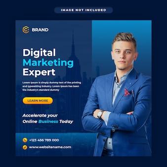 Marketing cyfrowy i baner na instagramie agencji kreatywnej lub szablon postu w mediach społecznościowych