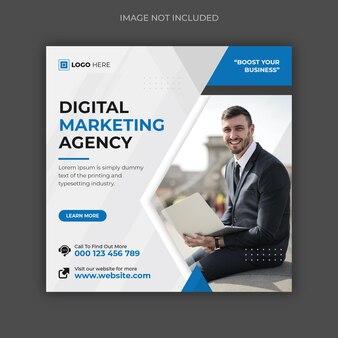 Marketing cyfrowy i korporacyjny szablon postu w mediach społecznościowych