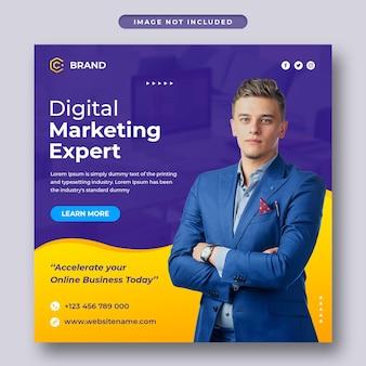Marketing cyfrowy i kreatywna agencja biznesowa na instagramie lub szablon postu w mediach społecznościowych