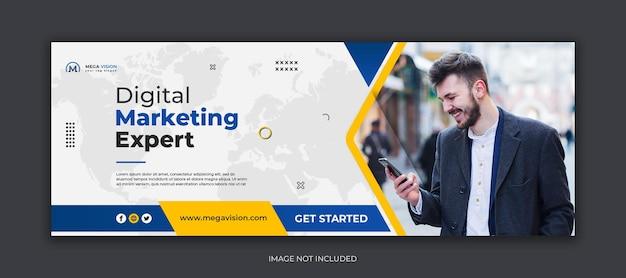 Marketing cyfrowy korporacyjne media społecznościowe szablon banera internetowego na facebooku