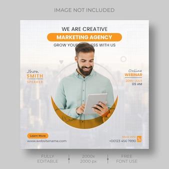Marketing cyfrowy korporacyjne media społecznościowe webinar na żywo i szablon postu na instagramie