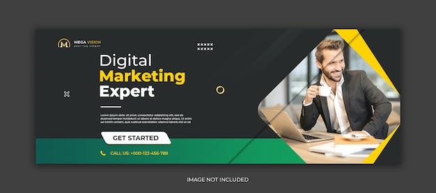 Marketing cyfrowy korporacyjny szablon banera społecznościowego na facebooku
