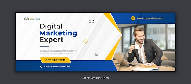 Marketing cyfrowy korporacyjny szablon okładki na facebooka