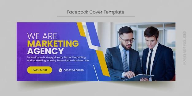 Marketing cyfrowy na facebooku na osi czasu i szablon banera internetowego