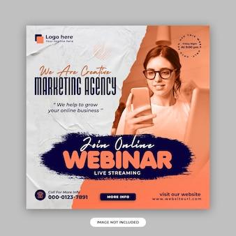 Marketing cyfrowy na żywo webinarium i korporacyjny post w mediach społecznościowych oraz szablon projektu banera internetowego