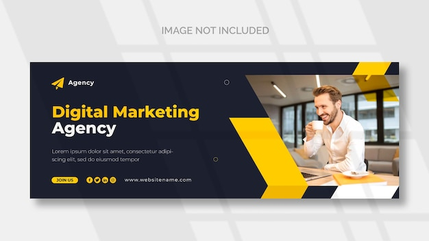 Marketing cyfrowy okładka na facebooka i szablon banera internetowego