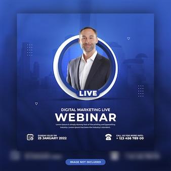 Marketing cyfrowy online webinarium na żywo w mediach społecznościowych projekt szablonu posta promocyjnego