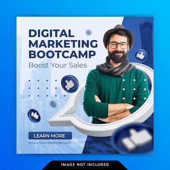 Marketing cyfrowy promocja biznesowa dla szablonu postu na instagramie w mediach społecznościowych