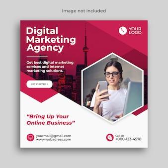 Marketing cyfrowy szablon postu w mediach społecznościowych instagram