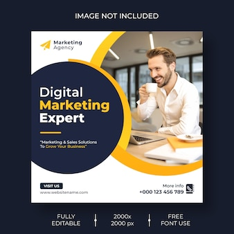 Marketing cyfrowy w mediach społecznościowych i baner szablonu postu na instagram