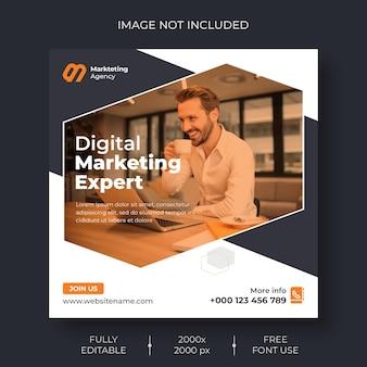Marketing cyfrowy w mediach społecznościowych i szablon banera postu na instagram