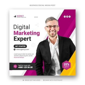 Marketing cyfrowy w mediach społecznościowych na instagramie szablon transparent