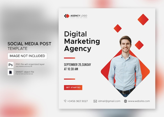 Marketing cyfrowy webinar post w mediach społecznościowych premium psd